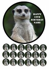 "MEERKAT CUTE ANIMAL 7.5"" ROUND CAKE TOPPER & CUPCAKE TOPPERS ICING WAFER RICE"