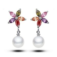 Fashion Women Faux Pearl Drop Dangle Earrings Zircon Flower Earrings Jewelry