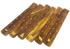 Wooden Incense Sticks Holder Ash Catcher Burner Buddha Moon Butterfly Inlay 10""