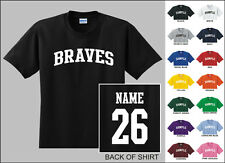 Braves College Letters Custom Name & Number Personalized Baseball T-shirt