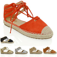 WOMENS LACE UP FLAT ESPADRILLES SANDALS LADIES ANKLE STRAPS CASUAL SHOES SIZE