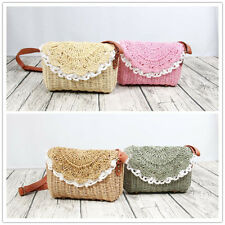 Candy Color Straw Woven Handbag Cross Body Phone Flap Bag Lace Trim DY615-3 F