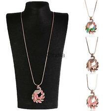 Simulated Cat's Eye Zircon Peacock Long Necklace Sweater Chain Pink/White/Multi