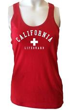 New Womens California Lifeguard beach safety Pool Staff  Red White Sexy TANK TOP