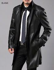 Mens hot sale Leather Long Dress Casual Trench Coats Jackets Fashion Hot Button