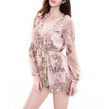 Sexy Fashion Girl Sequin Shorts jumpsuit Long Sleeve V-neck Playsuit Romper