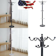 "15 Hooks 70"" Metal Hall Tree Coat Hat Stand Holder Hanger Rack w/ Marble Base"