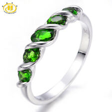 Natural Chrome Diopside 5-stone Ring 925 Sterling Silver Jewelry New Style