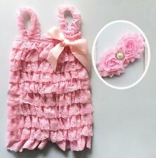 Infant Baby Girls Romper Bodysuit Lace Ruffles Petti Outfit Photo Prop Headband