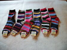 women ladies bright striped multi color crew socks size 9-11 gift idea for her