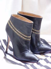 Lamb boots shoes heels black leather 6 36