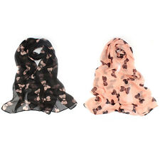 Women's Fashion Scarf Sweet Big Bowtie Chiffon Scarf Shawl Long Soft Stole Wrap