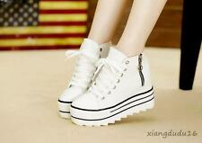 Ladies New High Top Platform Fashion Canvas Sneakers Casual Zipper Summer Shoes