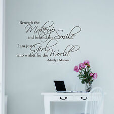 Beneath the Makeup and behind the smile... Marilyn Monroe Vinyl Wall Quote Decal