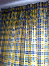 PRETTY, FRESH, MTM THICK COTTON BLUE/YELLOW CHECK CURTAINS 64