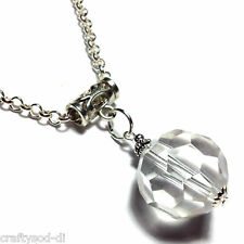Crystal Ball Glass Necklace Pendant Tibetan Silver Style - Choice of Chain Sizes