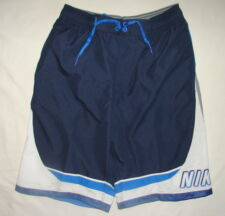 NIKE SWIM SWIMMING SWIMSUIT TRUNKS NAVY BLUE WHITE GRAY POLYESTER SHORTS S MEN
