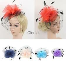 Wedding Party Bridal Ladies Prom Mesh Veil Feather Fascinator Hair Clip