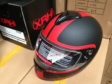 XRH ROAD RAGER FULL FACED HELMET RED STRIPES ON MATT BLACK  AS/NZS 1698 APPROVED