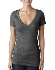 Next Level Apparel Women's Burnout Deep V-neck T-Shirt Tee 6540 Dark Grey New