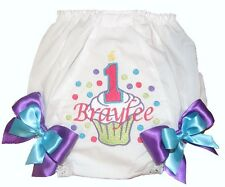 Personalized Diaper Cover Bloomers 1st, 2nd 3rd Birthday Cupcake Free Ship