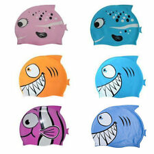 New Silicone Kids Children Swimming Cap Hat Fish Print Swimming Cap Swim Hat