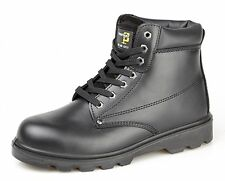 Mens Boys Grafters Black Leather Steel Toe Cap Safety Work Boots Size 4-15