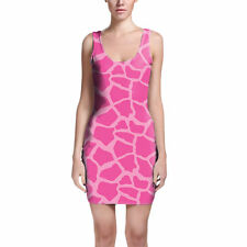 Giraffe Print Bright Pink Bodycon Dress Sizes XS-3XL Sleeveless Stretch Short Dr