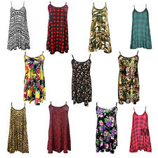 Ladies Womens Long Camisole Cami Floral Strappy Sleeveles Swing Dress Vest Top