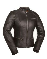 First Classics Ladies Fashionista Scooter Leather Jacket Black FIL108CCBZ