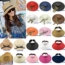 Women Wide Brim Fedora Panama Summer Sun Floppy Hat Foldable Straw Hat Beach Cap
