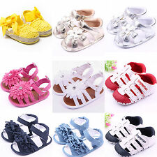 Infant Baby Girl Summer Anti-Slip Soft Sole Crib Shoes Toddler Prewalker Sandals