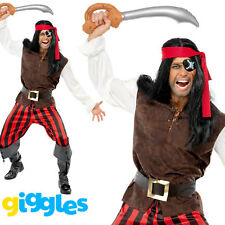 Mens Caribbean Pirate Man Costume Captain Adult Halloween Fancy Dress Outfit