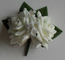 Artificial Foam Ivory Rose Double Buttonhole Corsage Wedding Flower Package