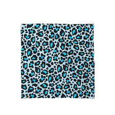 Leopard Print Bright Blue Satin Style Scarf - Bandana in 3 sizes