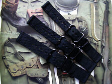 16mm 19mm Black 2pc NATO PVD Ballistic Nylon Military watch band strap IW SUISSE