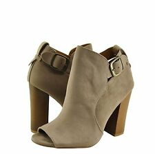 Women's Shoes Bamboo Embark 23M Peep Toe Chunky Heel Booties Taupe *New*