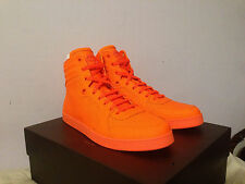 Gucci Orange Neon Leather High Hi-Top GG Logo Sneakers Shoes 100% AUTHENTIC NEW