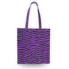 Zebra Print Bright Purple Canvas Tote Bag - 16x16 inch Book Gym Bag Optional Zip