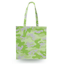 Camouflage Bright Green Canvas Tote Bag - 16x16 inch Book Gym Bag Optional Zip