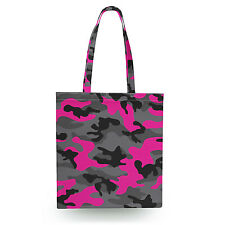 Dark Camouflage Hot Pink Canvas Tote Bag - 16x16 inch Book Gym Bag Optional Zip