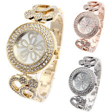 Women Rhinestone Bezel Flower Dial Stainless Steel Bracelet Quartz Wrist Watch