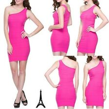 NEW LADIES SEXY ONE SHOULDER BODYCON CLUB PARTY COCKTAIL MINI SEAMLESS DRESS