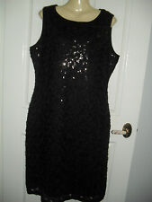 SZ 14 16 18 22 CLASSY BLACK SEQUINED LACY STRETCH MID CALF PARTY DRESS BNWT $39