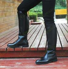 New Men's Military Boots PU Leather Knee High Equestrian Fashion Riding Boots