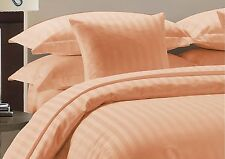 1000TC Peach Solid & Striped Egyptian Cotton UK Bedding Set's All Size *