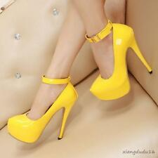 New Ladies Fashion Sexy Stiletto High heels Patent leather Ankle strap shoes #