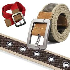 Fashion Waistband Men's Stripe Belts Casual Belt Buckle Canvas Leather Belt