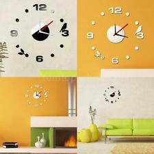 Simple Digits Wall Clock Sticker Set DIY Mirror Effect Acrylic Glass Decal W6I5