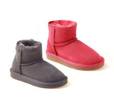 New Ozwear UGG OB092 Kids Classic Sheepskin Mini Boots Charcoal Tomato